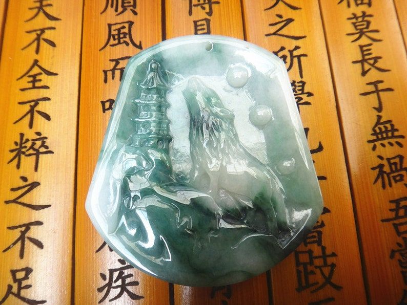 Rare Natural green jade stone engrave jade \u201c Wolf \u201d Carved luck pendants