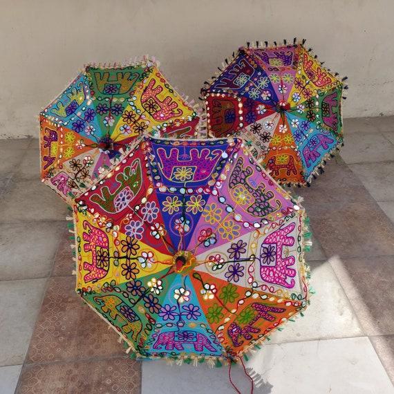 Colorful New Cotton Umbrella Wedding Folding Round Mini Elephant parasol 24/'/'