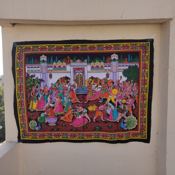 Indian Decoration Festival Holi Celebration Religious Painting Sequins  Worked Temple Decorating Posters Hand Paint Pictures Wall Tapestries