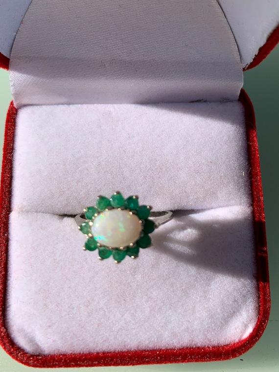 Vintage Opal & Emerald Ring