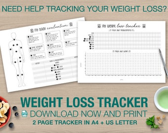 sale health fitness planner weight loss tracker printable etsy