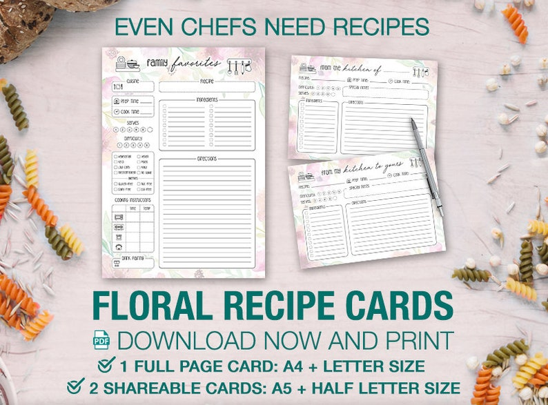 Floral Recipe Card Template A4, A5 + US Letter Printable & Half-Letter  Recipes Menu Food Prep Kitchen Journal Bridal Shower