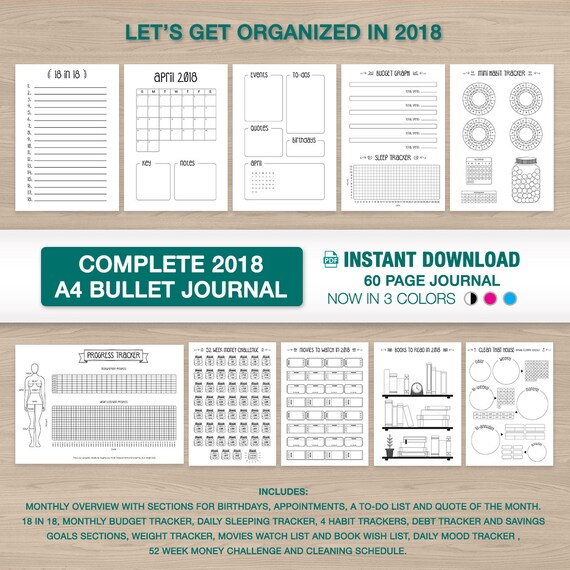 sale 2018 bullet journal a4 printable 12 month starter kit etsy