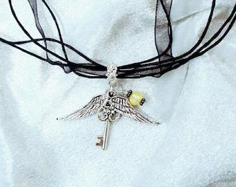 Flying Key Hogwarts House Necklace