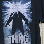 The Thing vintage rare shirt, 1980s horror movie, John Carpenter tee, black t-shirt, sci-fi, science fiction, faded, double sided