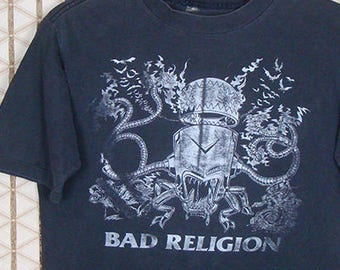 Bad Religion, vintage rare 1992 tour T-shirt, faded black tee, punk band, cross buster, anti-establishment, hardcore, double sided, dates