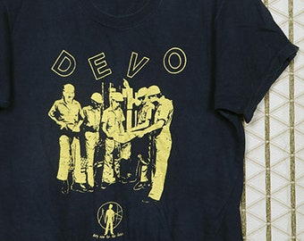 Devo vintage T-shirt, faded black tee shirt, 1970s 1980s New Wave, electronic, Kraftwerk, electropop, Gary Numan, Duty Now for the Future