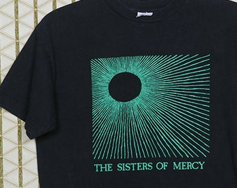 Sisters of Mercy, vintage T-shirt, faded black tee shirt, gothic Sisterhood Bauhaus Siouxsie Banshees March Violets Mission, Temple of Love