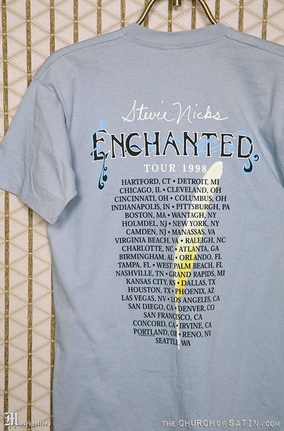Stevie Nicks concert tour shirt, Enchanted, Fleetwood Mac, faded blue tee shirt, soft, original OG, 1990s 1998