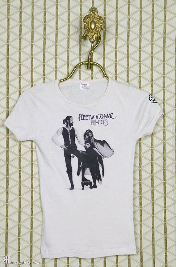1970s Fleetwood Mac, Rumours t shirt, Stevie Nicks, vintage rare cream white tee shirt, soft and thin, original OG