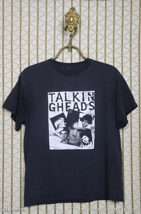Talking Heads t-shirt, vintage rare faded black te