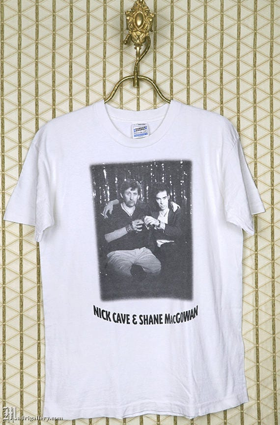 Nick Cave and Shane MacGowan T shirt, vintage whit