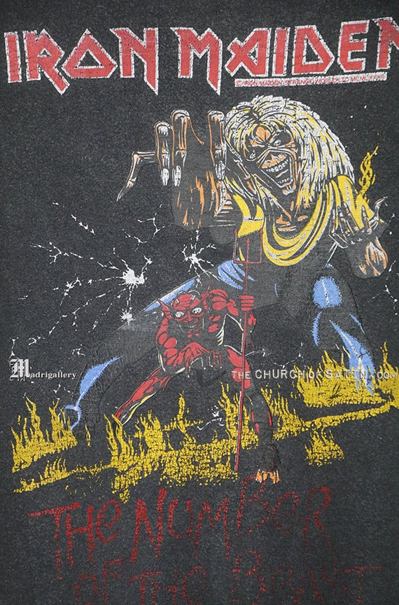 Iron Maiden shirt, 1983 Number Of The Beast t-shi… - image 3
