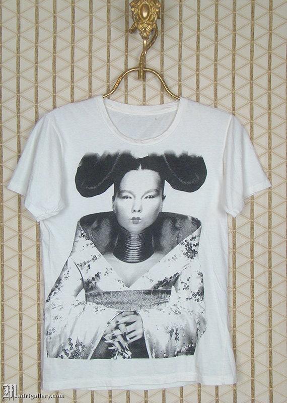 Björk t-shirt, Bjork vintage rare white tee, Sugar