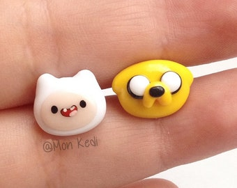 Aventure Time Finn and Jake kawaii cute post earrings