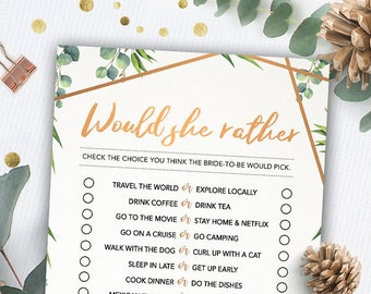 would she rather game bridal shower games printables bridal shower game idea bridal shower instant download wedding game greenery theme