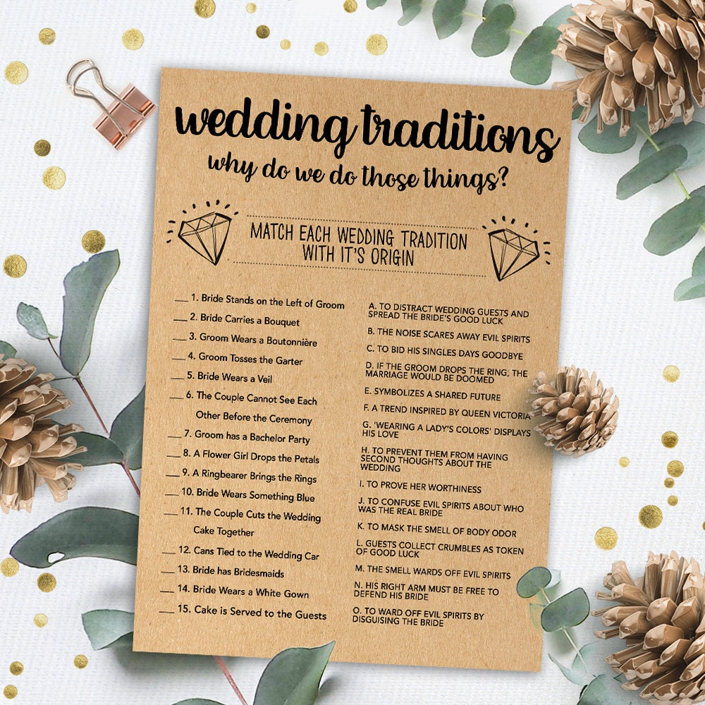 Wedding Traditions Game Bridal Shower Games Printable