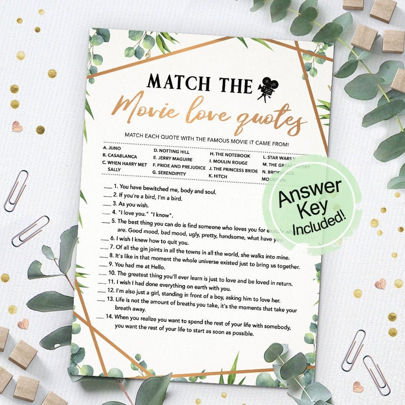 Match the Movie Love Quote Bridal Shower Games Printables image 0