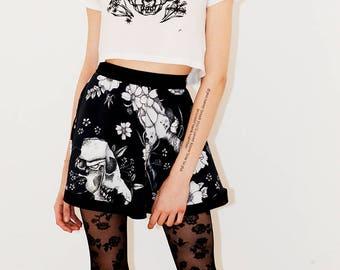 Flower and skull printed Mini A-Line Skirt