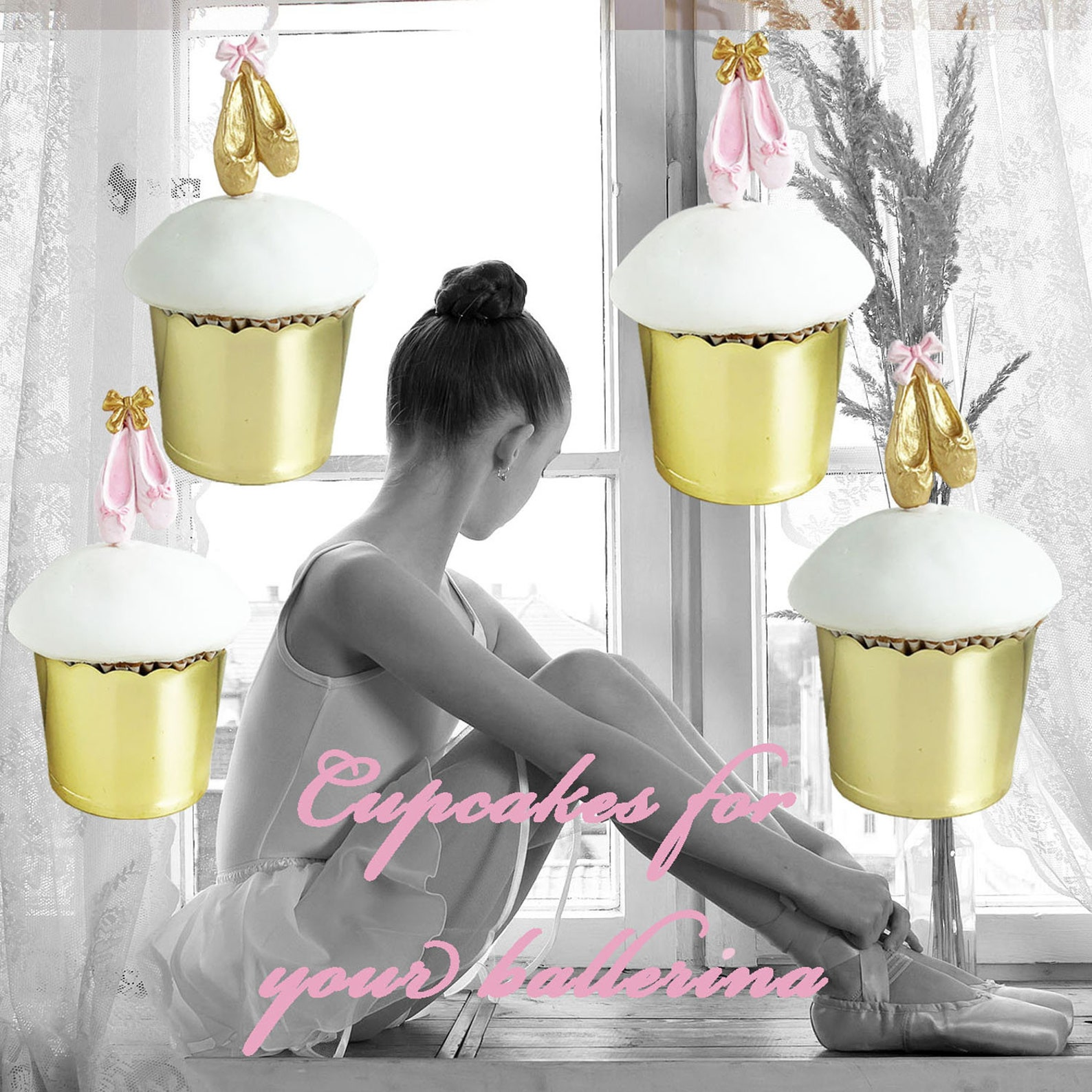 ballet shoes cupcake toppers - set of 12 - pink - gold