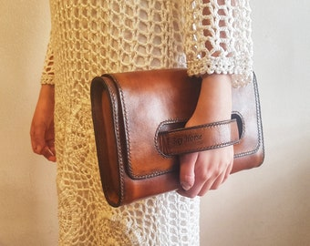 3a3c74ecb0 Women s Leather Clutch. Leather Clutch Bag. Women s Leather Handbag. Women  Crossbody Bag. Vegetable Tanned. Luxury. Handmade. Gift for Her