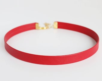 Red Leather Choker Necklace