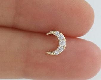 b26c9364c helix piercing, crescent moon cartilage piercing, helix earring, cartilage  earring, crescent moon ear piercing, conch piercing