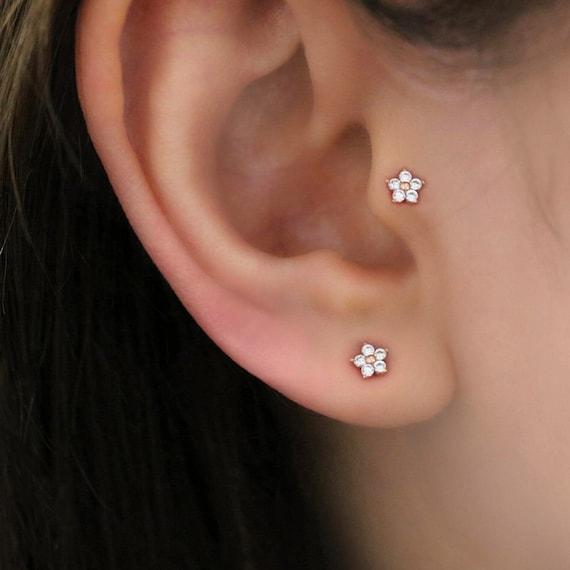 Tiny Flower Tragus Piercing Cartilage Piercing Flower Helix Etsy