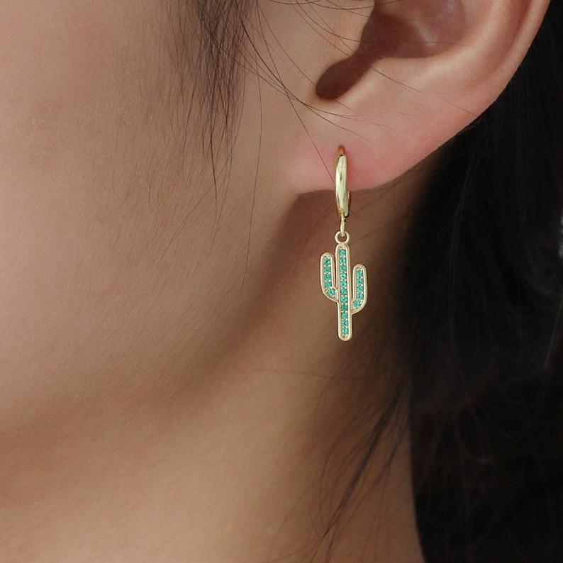 cactus earring huggie hoop cactus huggie hoop small hoop earrings drop hoops charm hoop charm hoop earring gold charm dangle hoops