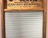 Antique Economy Brand Glass Washboard, Three Sad Iron Set, and Box Iron