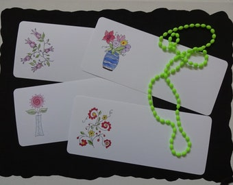 Flowers by Design Blank Note Cards, Set of 4:  FBDBL-1; note cards, flat card, greeting card, handmade, original creations, all occasion