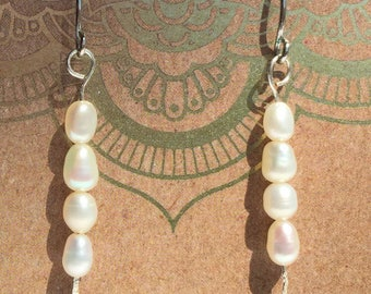 Pearl and hammered silver