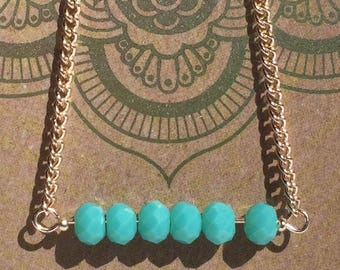 "16"" aqua and rose gold necklace"
