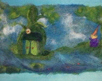 Picture of wool cooked and carded enchanted landscape-fantasy landscape