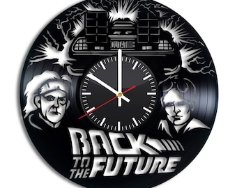 Back To The Future Vinyl Clock - Dr Emmett Brown Marty McFly Vinyl Record Wall Art Handmade Home Kitchen Decoration Original Vintage Gift