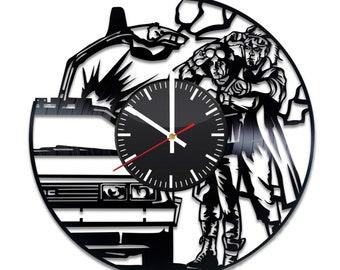 Back To The Future Vinyl Clock - Marty McFly Dr Emmett Brown Vinyl Record Wall Art Handmade Home Kitchen Decoration Original Vintage Gift