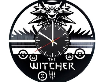 The Witcher Vinyl Clock - Video Game Vinyl Record Wall Art Handmade Decoration Home Kitchen Decor Best Original Vintage Modern Gift Idea