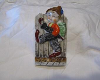 Vintage Made In Japan German Boy Wall Pocket Figurine