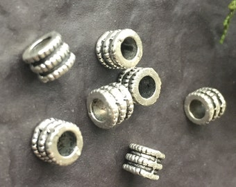 15 x Silver Spacer Beads, Round Beads, Ethnic Spacers, Silver Spacers, Beads, Antique Silver, Tribal Beads, Jewelry Making, 6 x 5mm | PBE207