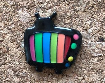 TV Pin, TV Retro Pin, Enamel Pin, Lapel Brooch Pin, Lapel Pins, Charms, Television Pin, TV Brooch Pin, New