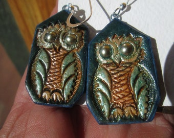 Leather owl earrings