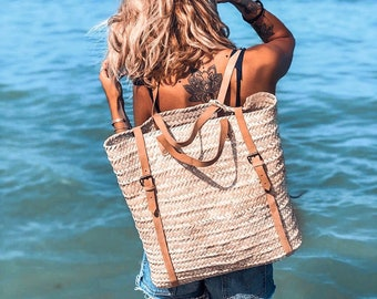 Straw Beach bag with leather strap - Straw backpack - Hipster backpack - boho backpack