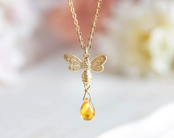 Bee Necklace, Honey Bee Jewelry, Bee Lover Gift, Bee Keeper Gift, Summer Necklace, Summer Jewelry, Gift for Her, Gift for Mom, Topaz Amber