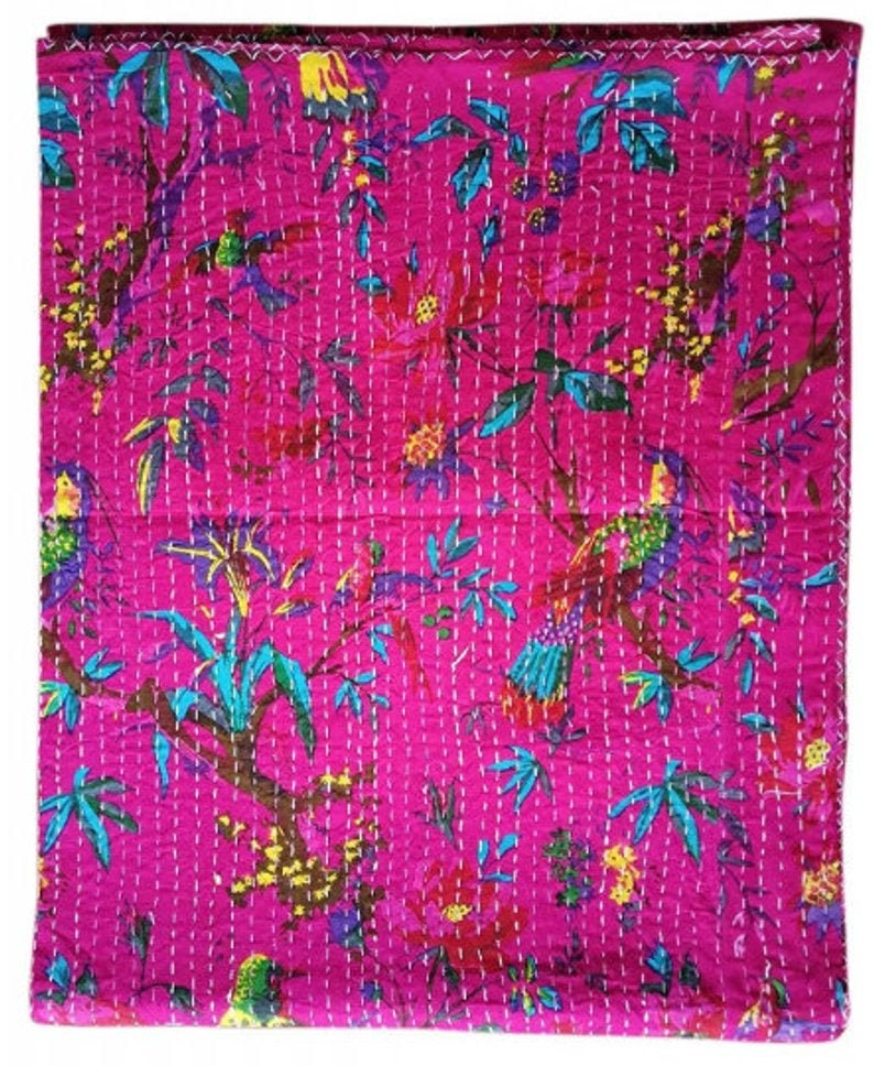 Handmade INDIAN Hand-Stitched Patchwork Vintage Kantha Quilt Hand-Stitched Queen Kantha Throw Floral Recycled Old Sari Cotton Blanket