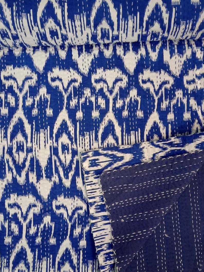 Ikat kantha quilt Handmade kantha bedcover hand stitch Blue Kantha throw Bohemian Hippy quilt