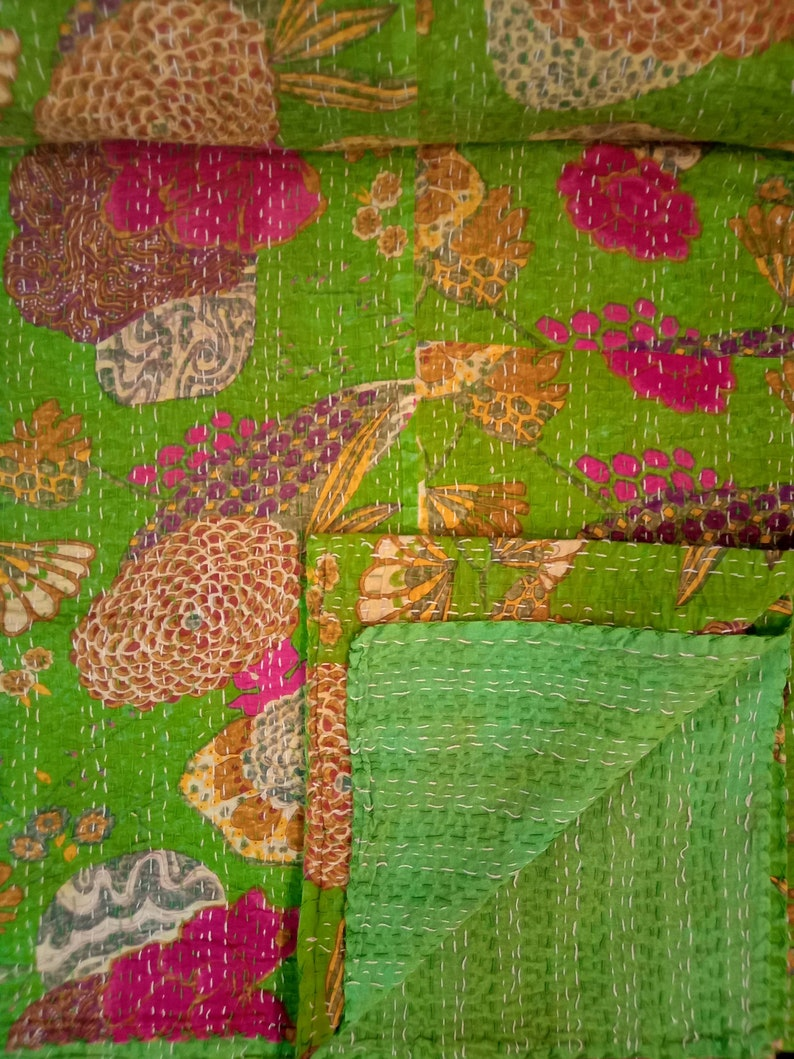Fruit Print kantha Quilt Handmade indian Bhoemian kantha quilt beautiful Coverlet Picnic Throw Fruit Print kantha Quilt Handmade quilt