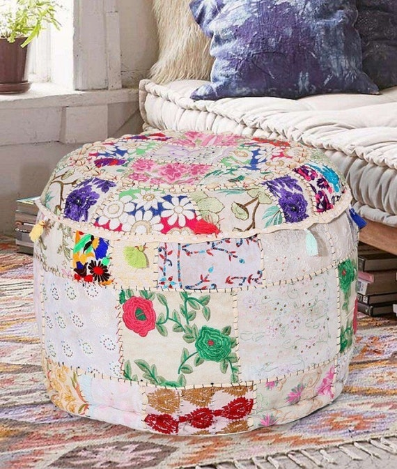 Stupendous Indian Khambadia Pouf Foot Stool Cover Pouffe Cover Chair Ottoman Patchwork Vintage Seating Foot Stool Cover Pdpeps Interior Chair Design Pdpepsorg