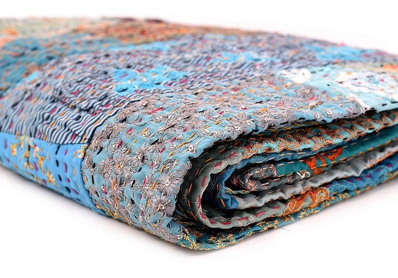 Quilt Queen Turquoise Blue Patchwork Indian Bed cover Handmade Vintage Patches A