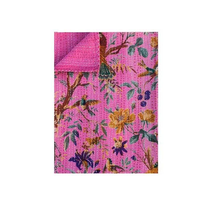 PINK BIRD of Pradise handmade Bird Print Kantha Quilt Kantha Throw Kantha Bedspread Kantha Bedding /& Bedcover