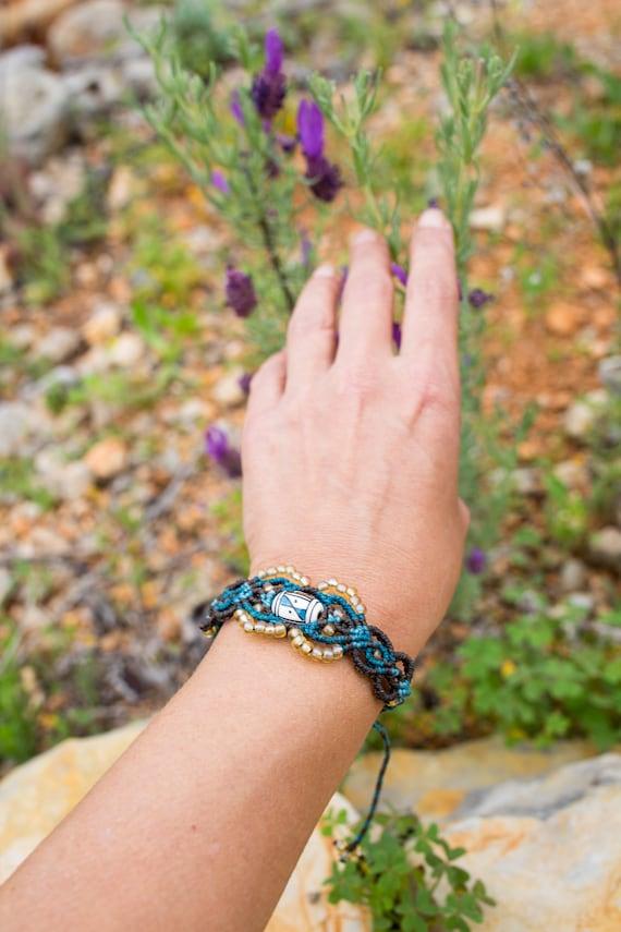 Blue-Grey-Silver Scottis Plaid Hobo Macrame Bracelet For MenHippie Unisex JewelryBoho Woven Mens BraceletScottish Check Pattern Bracelet